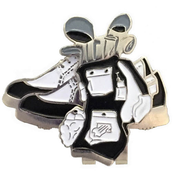 black & white golf bag ball marker on a magnetic, black shoes shaped hat clip