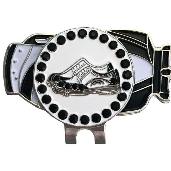 bling black and white golf shoes ball marker on a magnetic golf bag hat clip