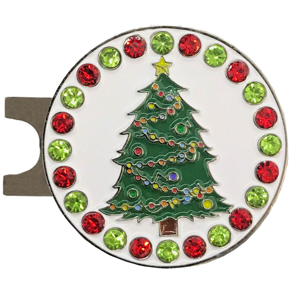 bling Christmas tree golf ball marker on a magnetic hat clip