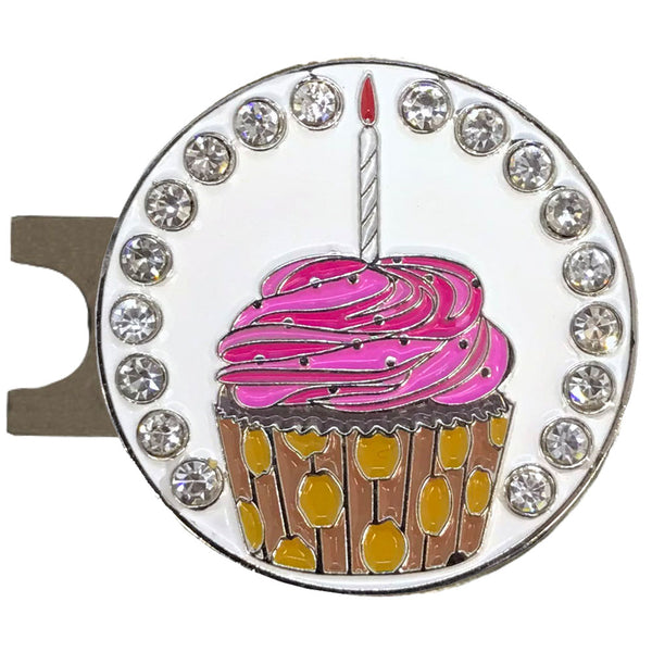 bling pink cupcake golf ball marker with a magnetic hat clip