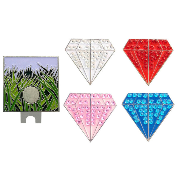 four bling diamond shaped golf ball markers (white, red, pink, and blue) with one rough (grass) hat clip