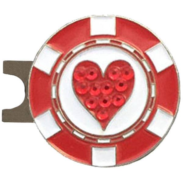 bling red and white heart golf ball marker with a magnetic hat clip