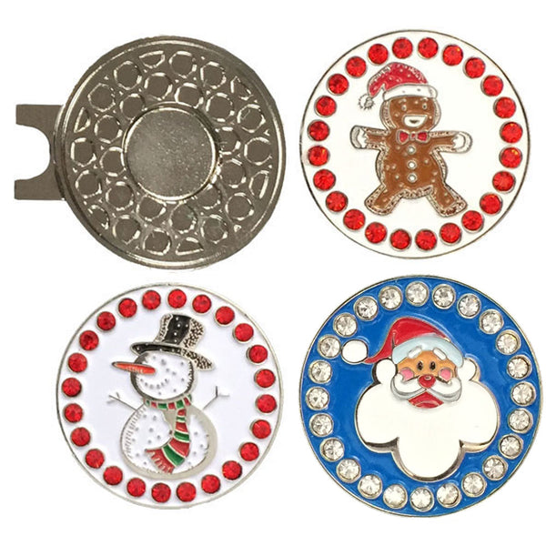 a magnetic hat clip with three christmas golf ball markers (a gingerbread man, a snowman, and a Santa)