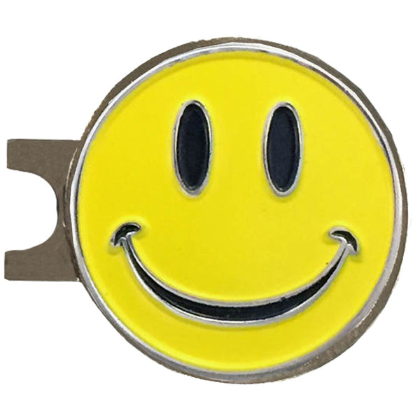happy face golf ball marker on a magnetic hat clip