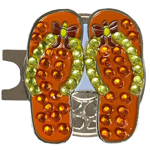 bling orange flip flops golf ball marker with a magnetic silver hat clip