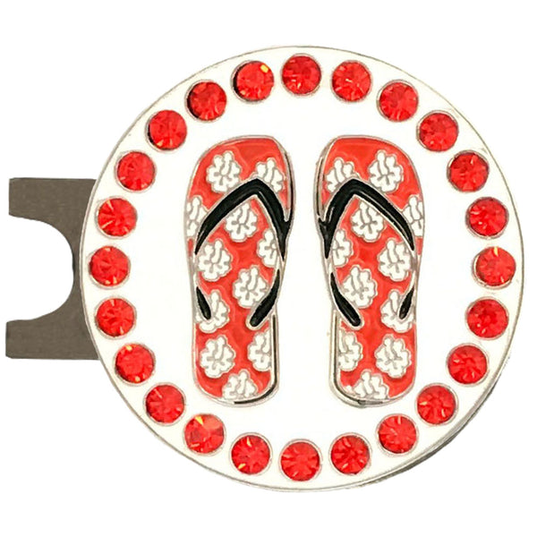 bling red flip flops golf ball marker on a magnetic hat clip