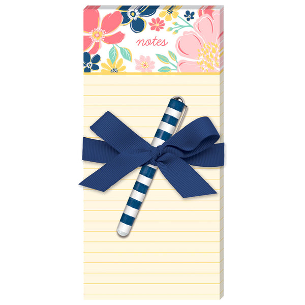 Floral Magnetic List Pad With Pen
