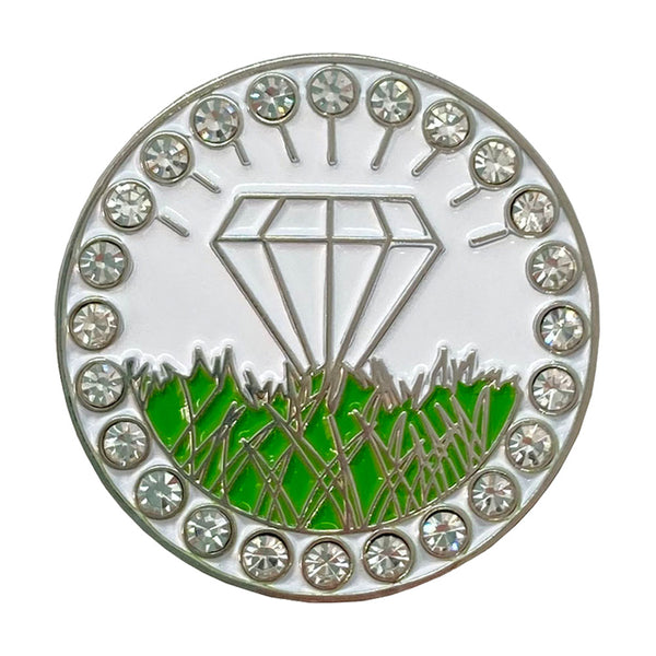 bling white diamond in the rough golf ball marker only