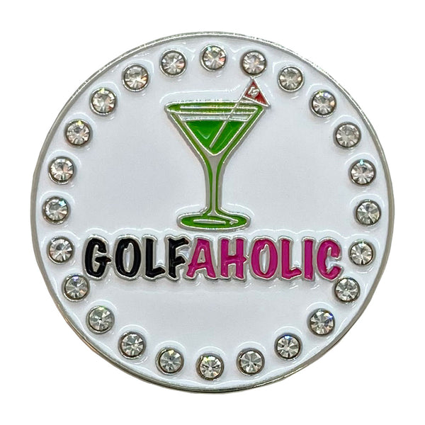bling golfaholic green martini golf ball marker only