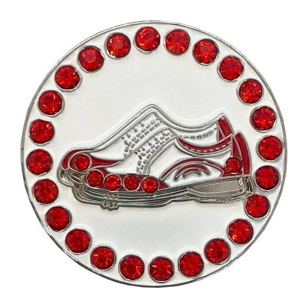 bling red and white golf shoes golf ball marker only