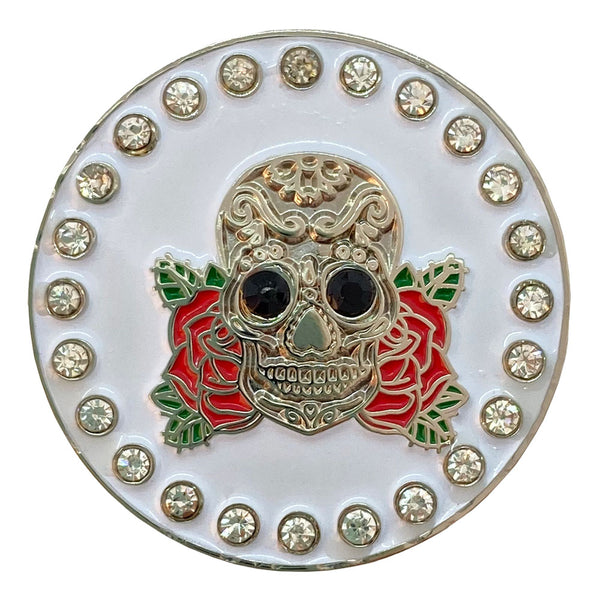 bling skull with roses golf ball marker only