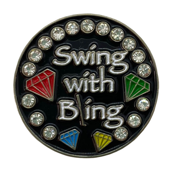 bling swing with bling (black background) golf ball marker only