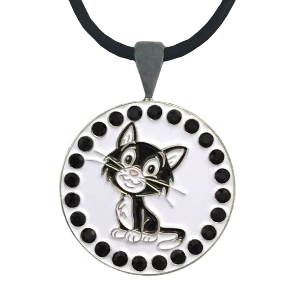 bling black and white cat golf ball marker necklace