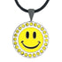 bling yellow and black happy face golf ball marker necklace