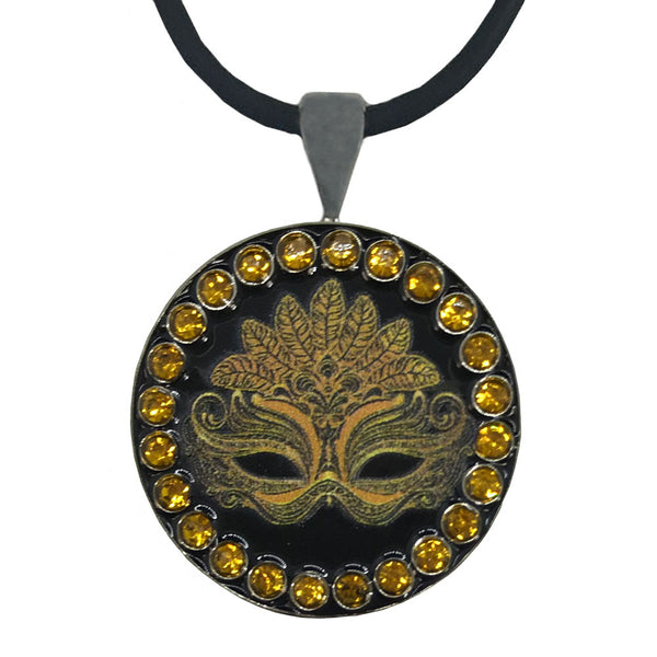 bling black & gold masquerade mask golf ball marker necklace