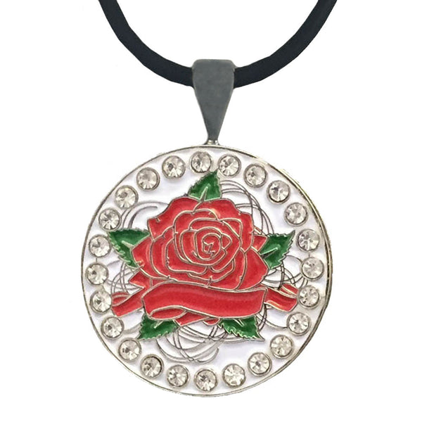 bling red rose golf ball marker necklace