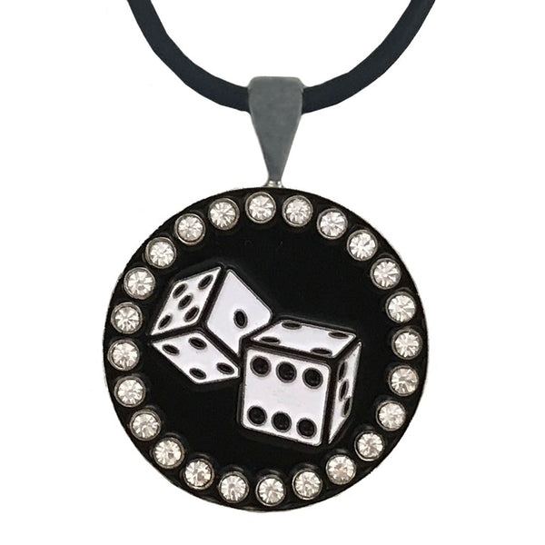 bling black & white dice golf ball marker necklace