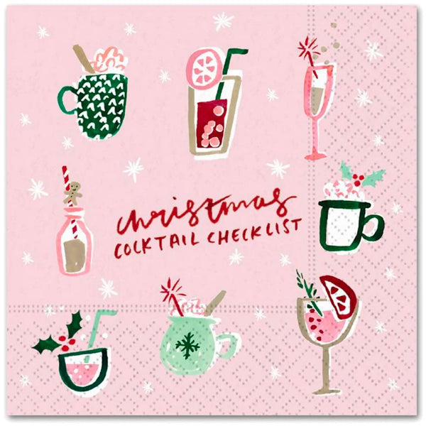christmas cocktail checklist beverage napkins
