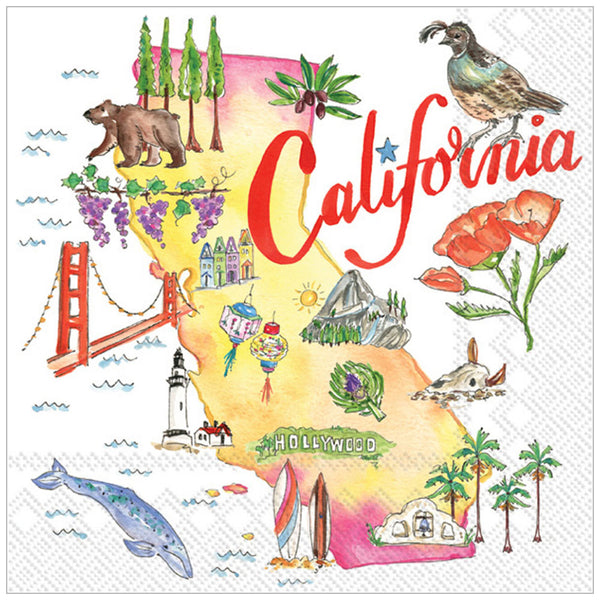 "california state cocktail napkins 5"" x 5"""