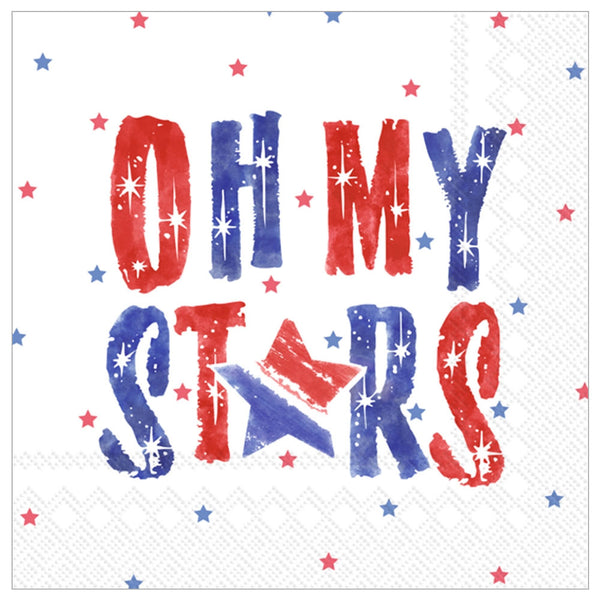 "oh my stars patriotic cocktail napkins 5"" x 5"""