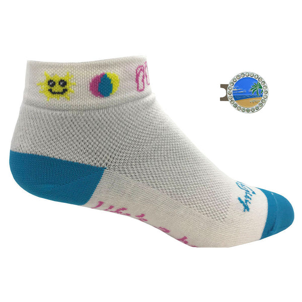 women's life's a beach golf socks with bling beach scene ball marker
