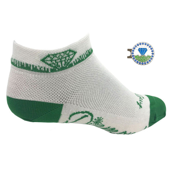 diamond in the rough women's golf socks with blue diamond ball marker