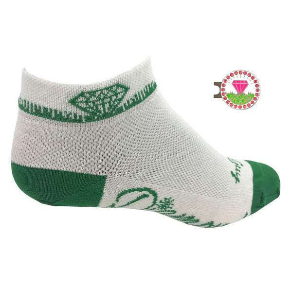 diamond in the rough women's golf socks with pink diamond ball marker