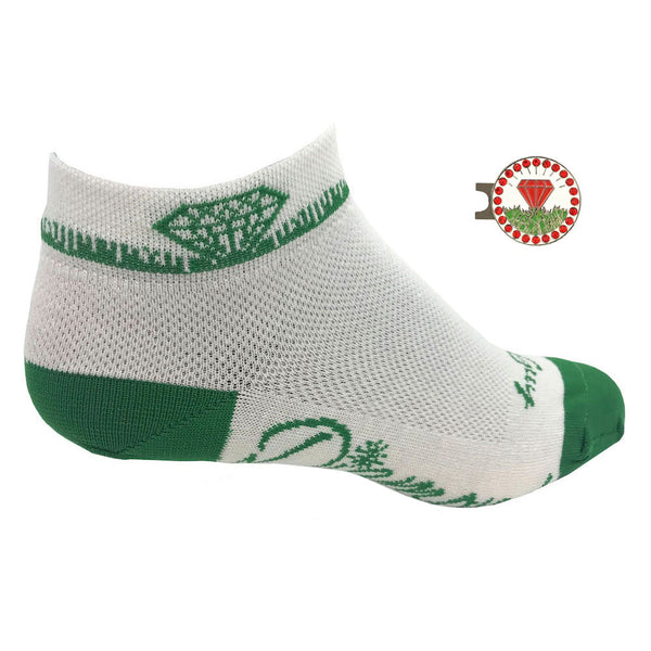 diamond in the rough women's golf socks with red diamond ball marker