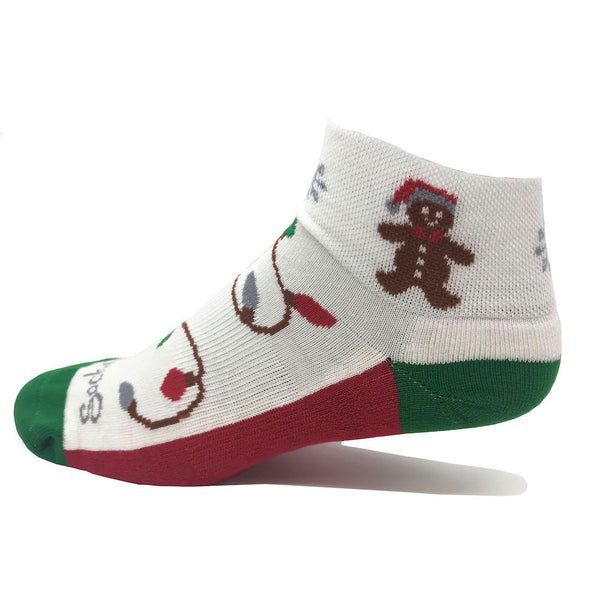 holiday women's golf sock with gingerbread man