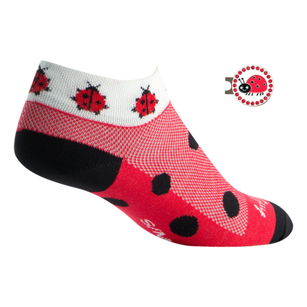 ladybug women's golf socks with bling ball marker