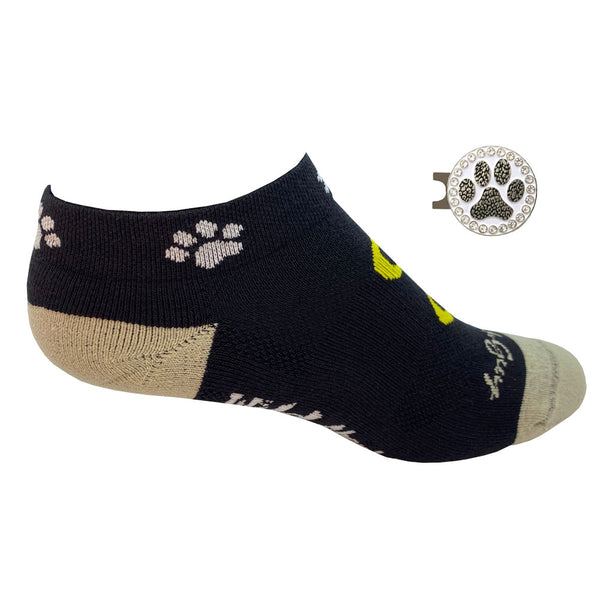 wild about golf women's golf socks with paw print golf ball marker