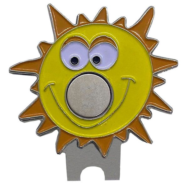 giggle golf yellow orange sun shaped magnetic hat clip