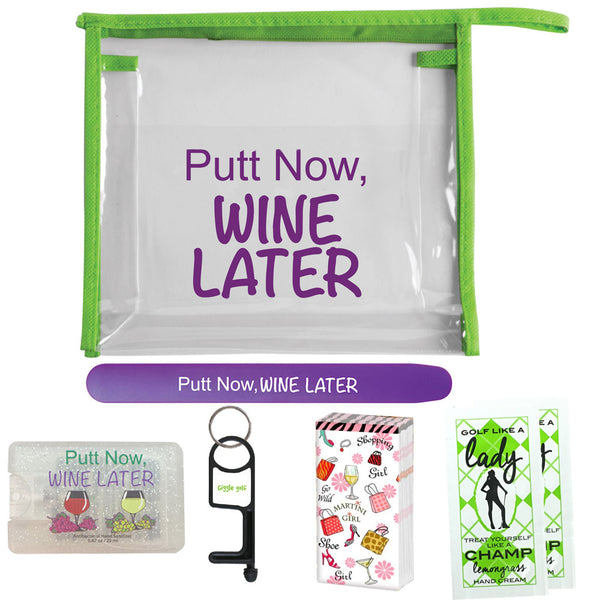 Putt Now, Wine Later golf survivor pack