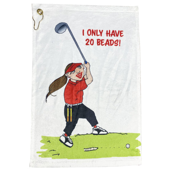 I only have 20 beads (golf counter) funny golf towel for women