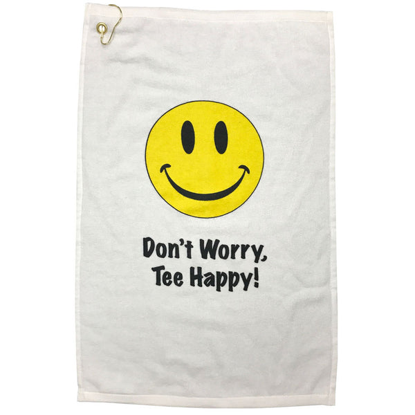 happy face cotton terry velour golf towel with grommet and hook