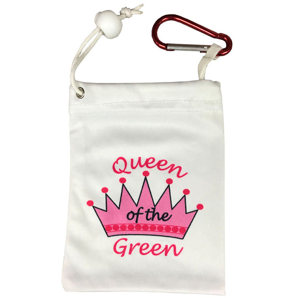 side two of the queen of the green tee bag, with a pink crown