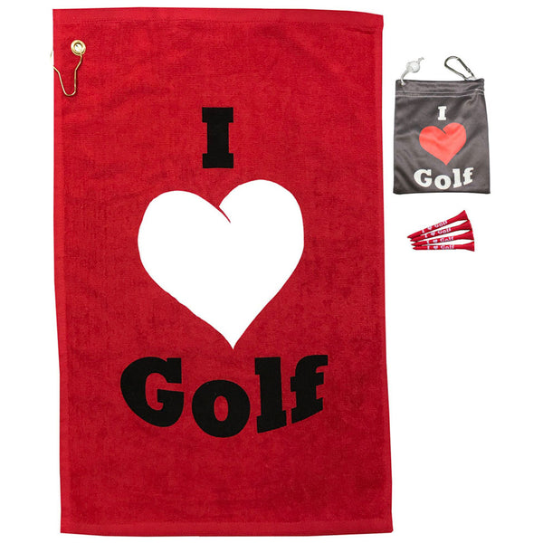 i love golf towel and tee bag with four tees