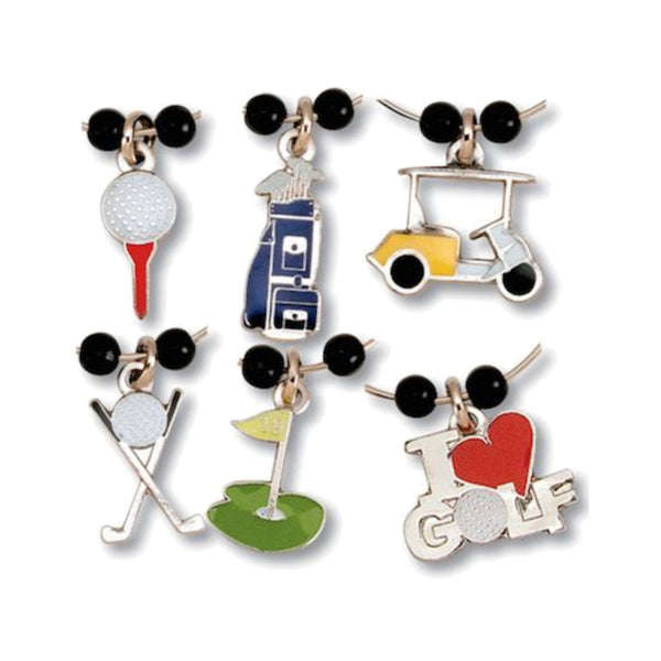 golf themed wine glass charms set of 6