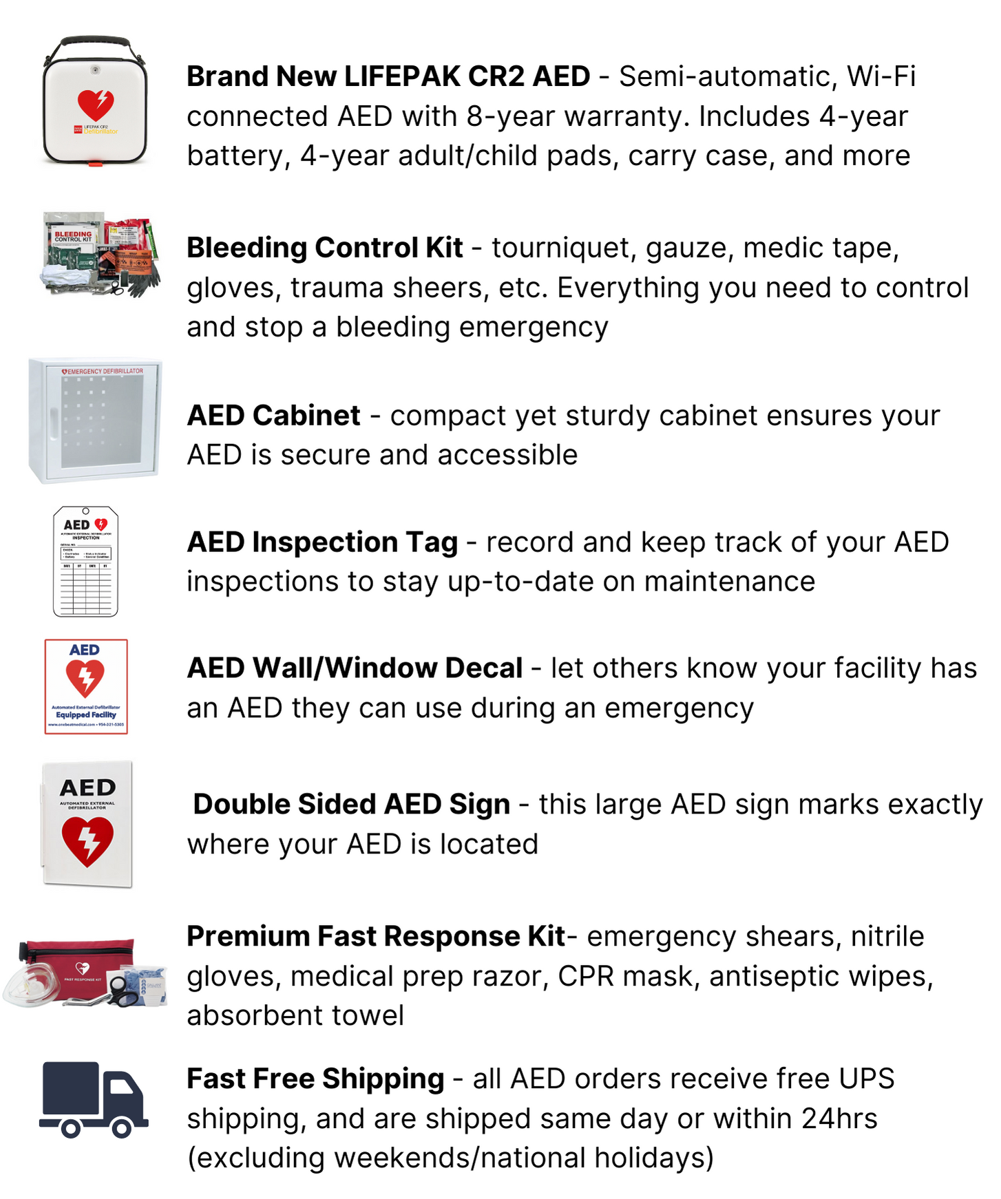 physio-control lifepak cr2 aed package