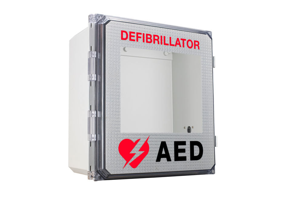 Outside AED wall cabinet