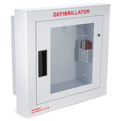Fully Recessed large defibrillator wall cabinet with window and alarm
