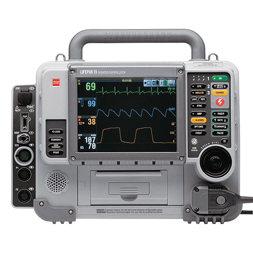 Physio-Control LIFEPAK 15  AED 12 Lead, Pacing, SpO2, NIBP, EtCO2, Bluetooth Refurbished