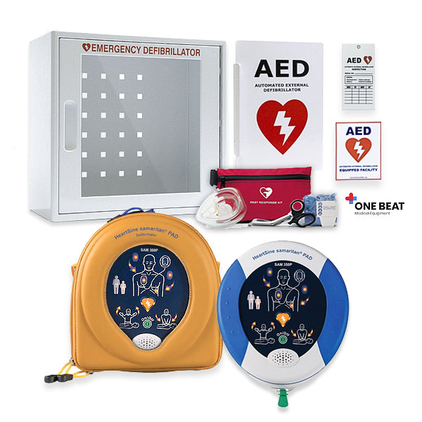 HeartSine Samaritan PAD 350P AED With Free Wall Cabinet & AED Sign