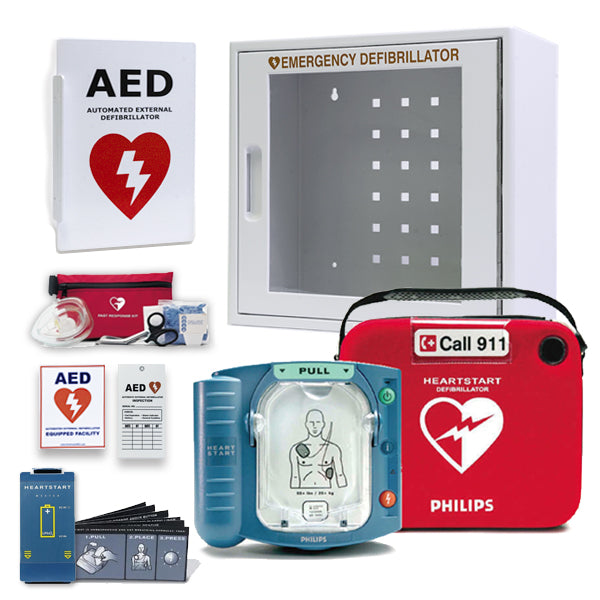 Philips HeartStart OnSite AED With Free Wall Cabinet & AED Sign