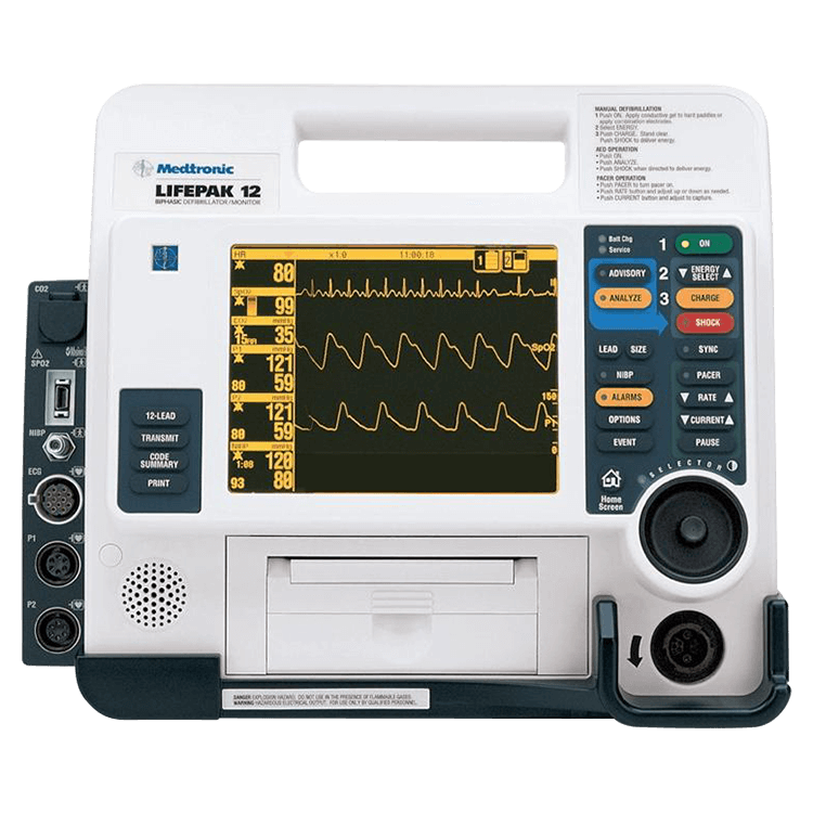 Physio-Control LIFEPAK 12 Recertified 12 Lead AED Defibrillator, Pacing, NIBP, SpO2, EtCO2, Bluetooth, EL Screen -Refurbished