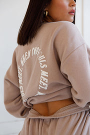 TWO SOULS TAUPE CREWNECK