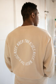 TWO SOULS BEIGE CREWNECK