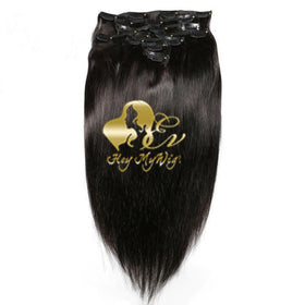 Clip in human hair extension Silk straight hair - heymywig.com