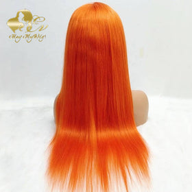 Orange Color Lace Frontal Wig Straight