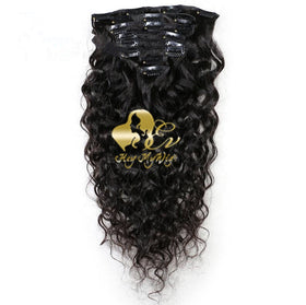 Clip in human hair extension Natural wave hair - heymywig.com